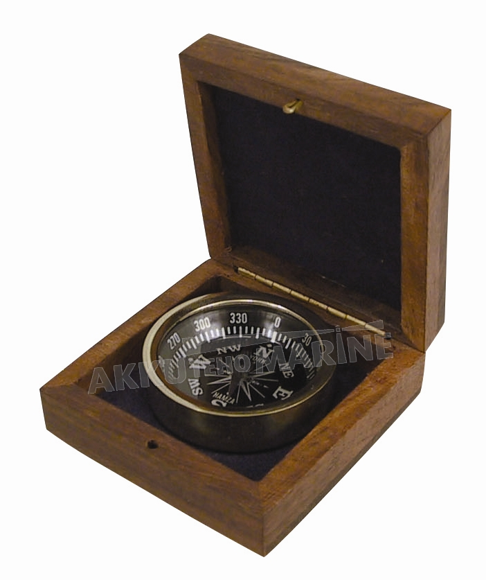 DECORATION COMPASS IN WOODEN BOX 2""